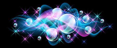 Photo pour Glowing background with versicoloured bubbles and smoke - image libre de droit