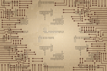 Illustration pour Drawing modern electronic circuit and  binary code - image libre de droit