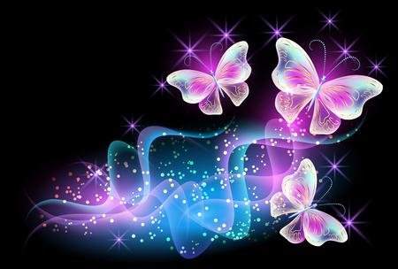 Illustration pour Fireworks and glowing magical butterflies - image libre de droit