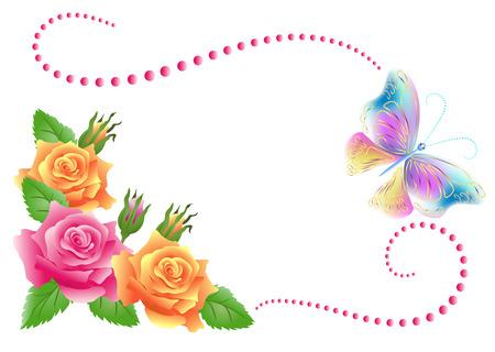 Ilustración de Flowers ornament and butterfly isolated on white background - Imagen libre de derechos