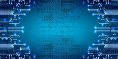 Illustration pour Drawing modern electronic circuit and  binary code on blue grungy background - image libre de droit