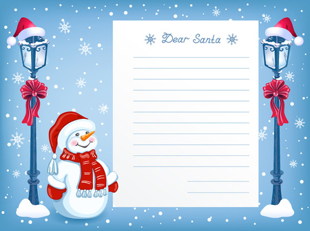 Illustration pour Layout letter to Santa Claus with cartoon funny Snowman in santa hat and Christmas vintage streetlamp with red bow - image libre de droit