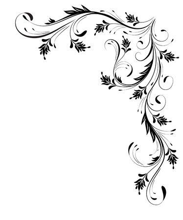Illustration pour Decorative floral corner ornament for angular stencil isolated on white background - image libre de droit