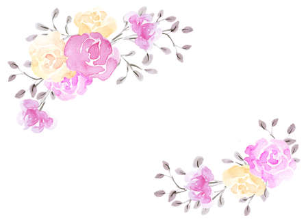 Photo pour Hand drawn watercolor painting with pink and yellow roses flowers bouquet isolated on white background. Floral corner ornament. Design element. - image libre de droit