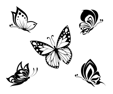 Tattoo black and white butterflies, set