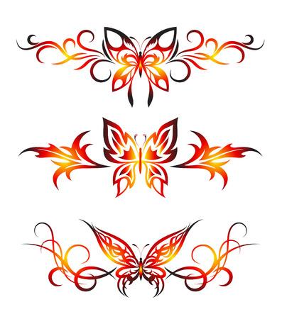 Illustration pour Set tribal with butterflies, tattoo - image libre de droit