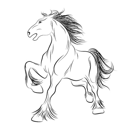 Vector image a horse, tattoo