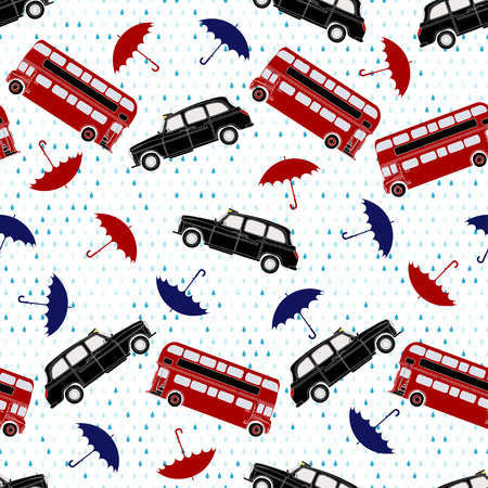 Seamless pattern with double-decker buses taxi and umbrellas under the rain. Symbols of Lon