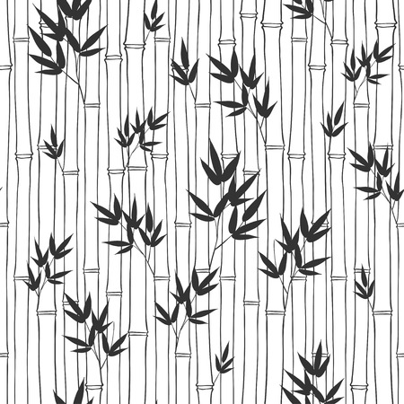 Illustration pour Seamless bamboo pattern. Black and white illustration. - image libre de droit