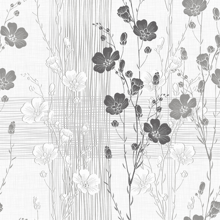Floral seamless background of flax plant. Monochrome vector background.