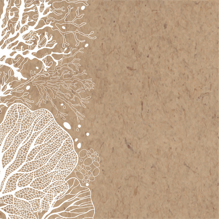 background with marine plants on paper. Can be greeting card, invitation, design element.