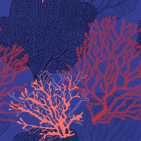 Illustration pour Coral reef. Vector background on the marine theme. - image libre de droit