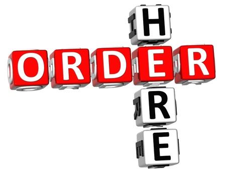 3D Order Here Crossword  on white background