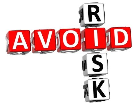 3D Aviod Risk Crossword on white background
