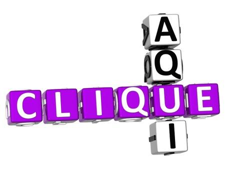 3D Clique Aqui Crossword on white background