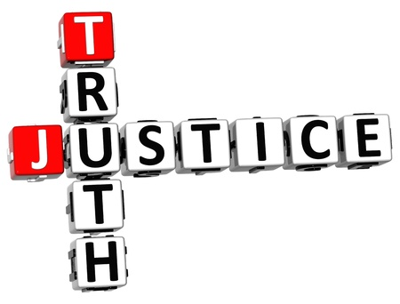 3D Justice Truth Crossword on white background