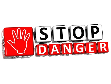 3D Stop Danger Hand block text on white background.