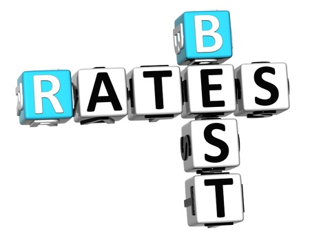 3D Best Today Rates Crossword on white background