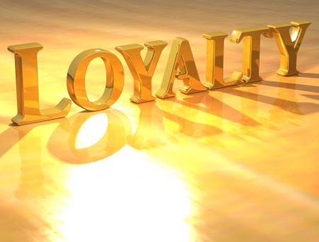 3D Loyality Gold text over yellow background