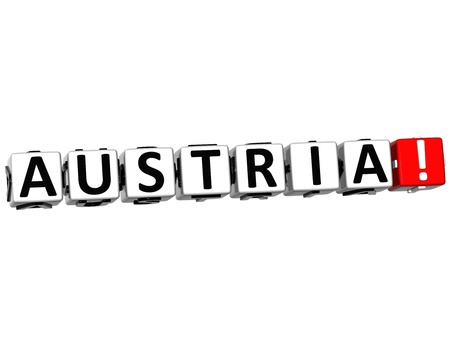 3D Austria Button Click Here Block Text over white background