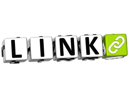3D Link Button Click Here Block Text over white background