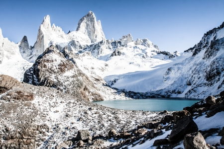 Beautiful nature landscape with Mt. Fitz Roy as seen in Los Glaciares National Park, Patagonia, Argentina  ( HDR image )