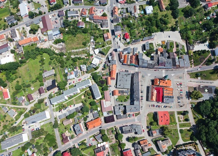 aerial view of Otmuchow city center