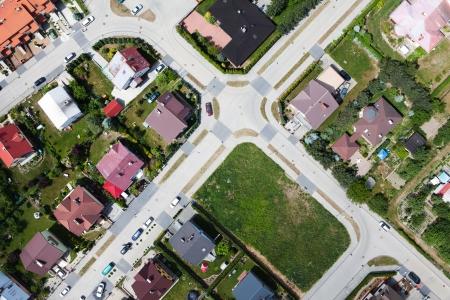 Nysa city suburbs aerial view