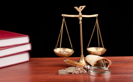 Photo for scale of justice and money on black background - Royalty Free Image