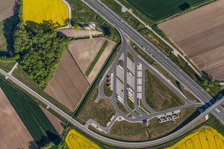 Photo pour aerial view of highway and green harvest fields in Poland - image libre de droit