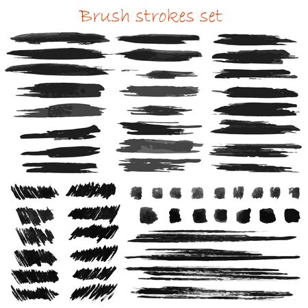 Illustration for Grungy vector brush strokes set - Royalty Free Image