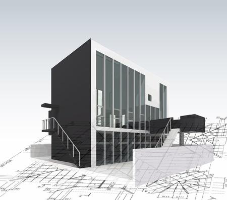 Foto de Architecture model house with plan and blueprints   - Imagen libre de derechos
