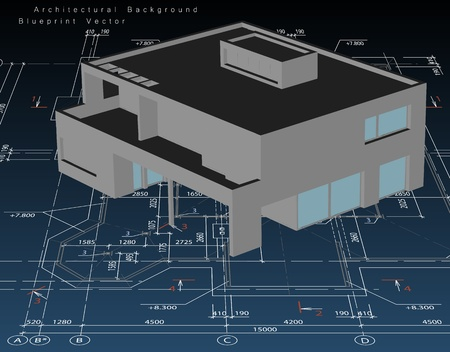 Architecture model house with blueprint