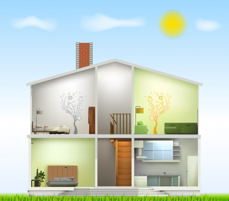 Cut in house interiors  Vector