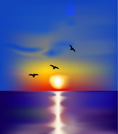 Illustration for Sunset on sea with birds  Vector - Royalty Free Image