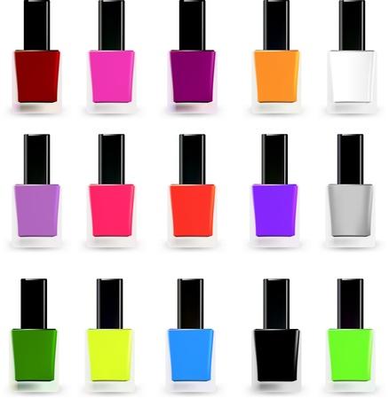 Set bottles of nail polish in various colors  Vector