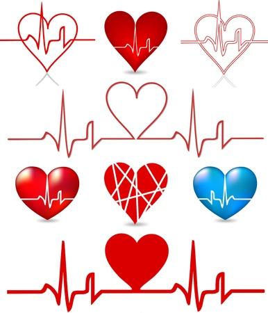 Set hearts beats graph  Vector
