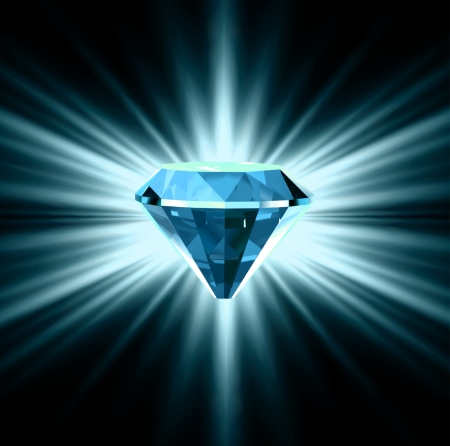 Blue diamond on bright background