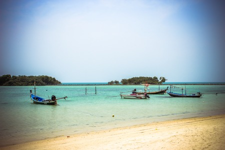 Tropical island and boat - vacation background on Koh Samui