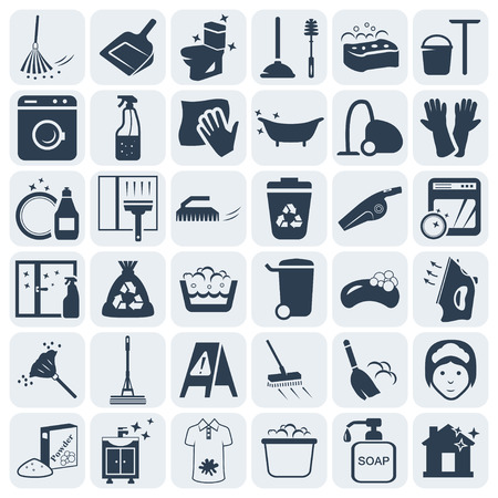 Illustration pour Cleaning and washing vector icon set - image libre de droit