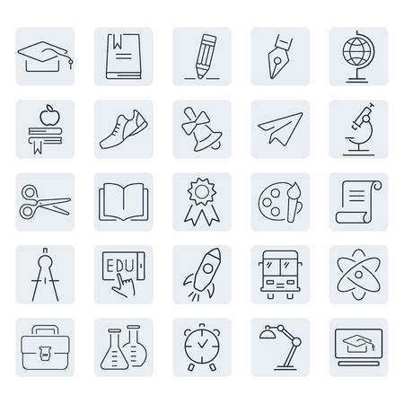 Education outline icon set