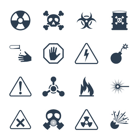Vector hazard and danger icon set