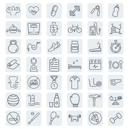 Ilustración de Health and Fitness vector icons. - Imagen libre de derechos