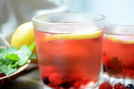 Photo pour Cold berry lemonade in glasses Summer refreshing drink - image libre de droit