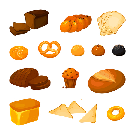 Illustration pour Vector set of different kinds of bread. Bakery products icons. Vector bread and pastry. Cartoon style. - image libre de droit
