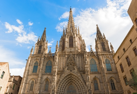 Barcelona cathedral facade details, Spain  The cathedral is in the heart of Barri Gotic  Gothic Quarter  of Barcelona
