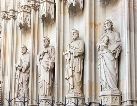 Barcelona cathedral statues of apostles at the entrance, Spain  The cathedral is in the heart of Barri Gotic  Gothic Quarter  of Barcelona