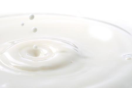 Macro shot of splashing milk droplets.