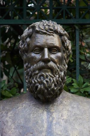 statue of ancient Greek poet Sofoklis in Athens.