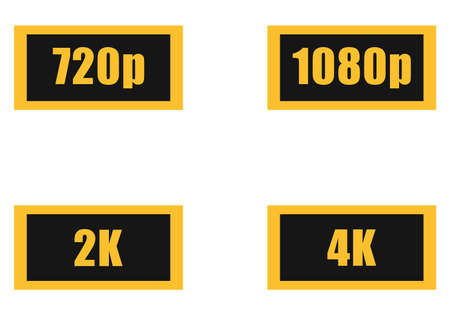 Dimensions of video flat icon set, 720, 1080, 2k, 4k.